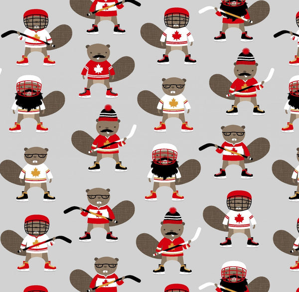Purely Canadian Eh - Hockey Beavers in Grey (1/4 metre)