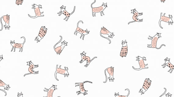 Feline Myself (Pink Cats) in Cream (1/4 metre)