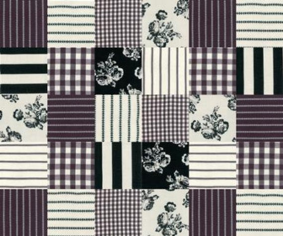Urban Cottage Prints - Patchwork in Black and Ivory (1/4 metre)