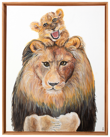 Lion and Cub Original Painting