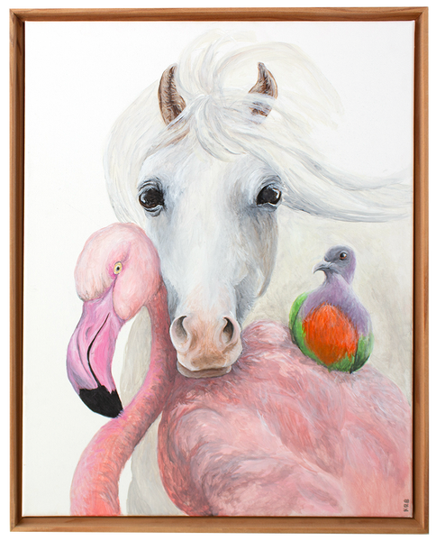Flamingo, Horse, and Pigeon Original Painting