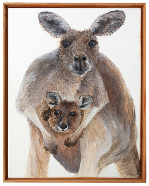 Kangaroo and Joey Original Painting