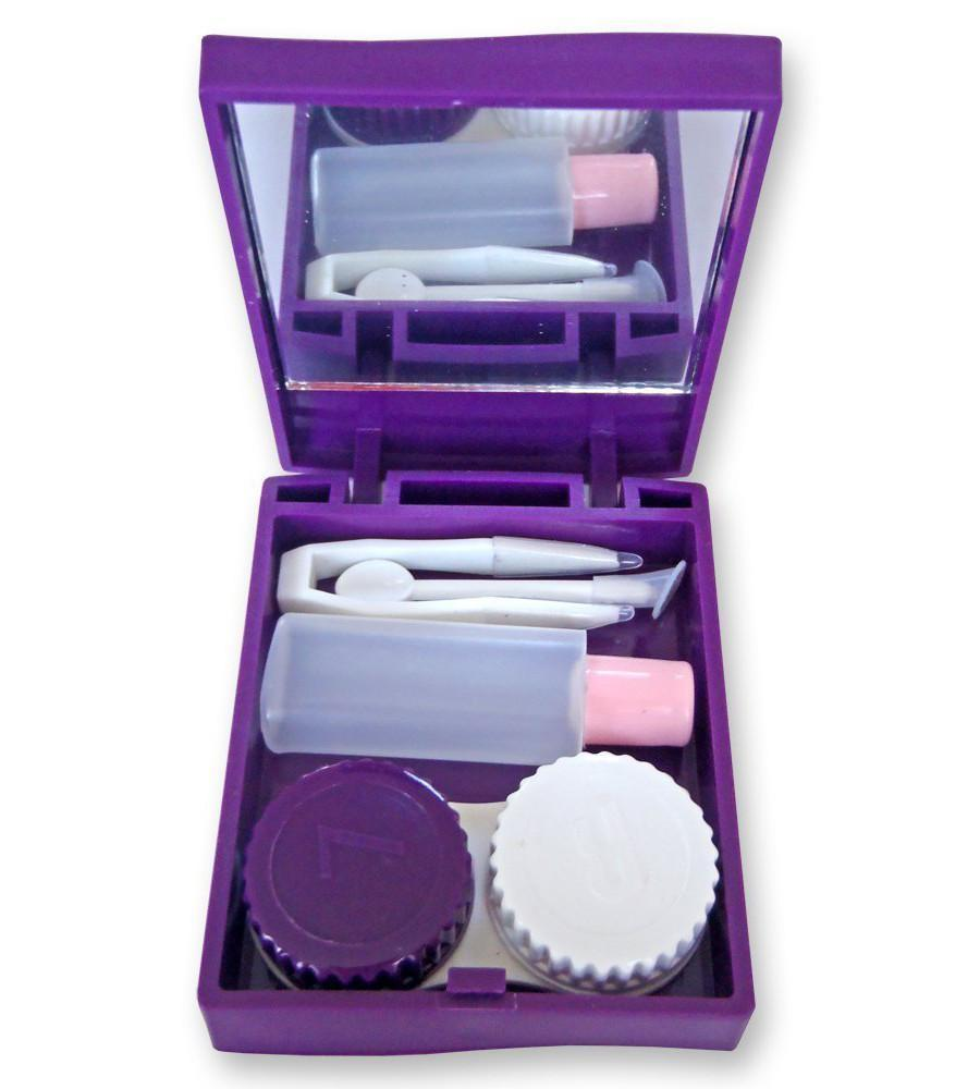 Square purple contact lens travel case