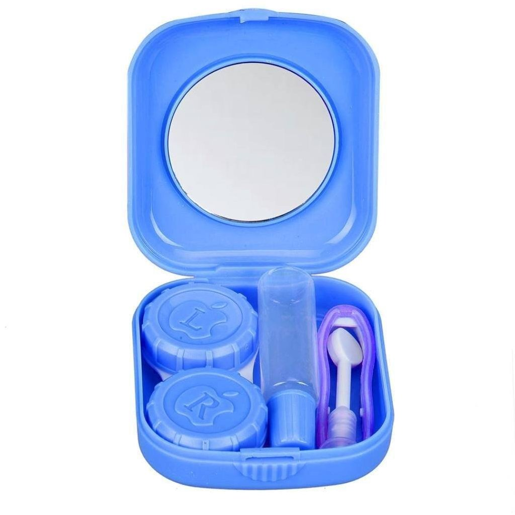 Blue multi-purpose travel contact lens case