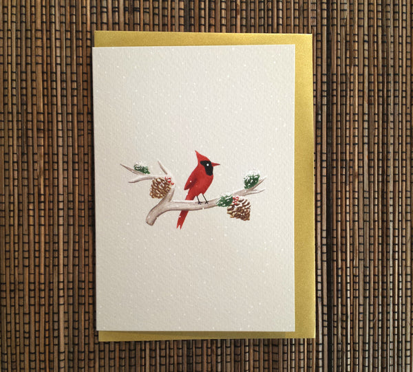 Cardinal on Branch Card