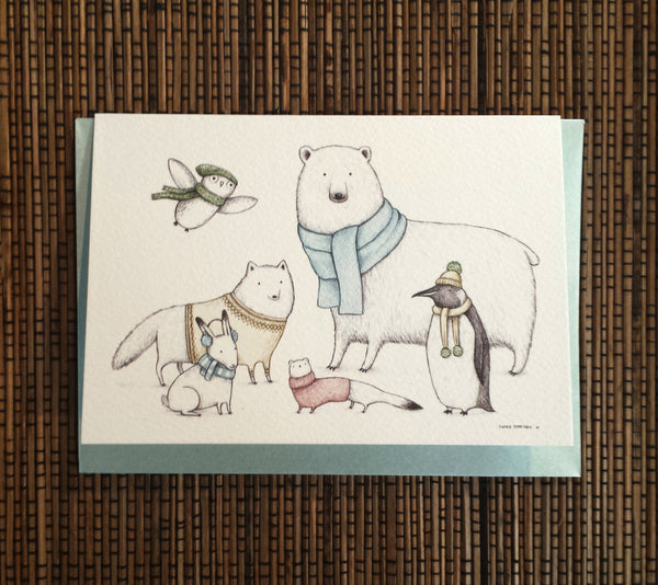 Arctic Animals in Knitwear Card