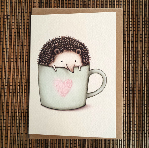 Hedgehog in a Mug Card