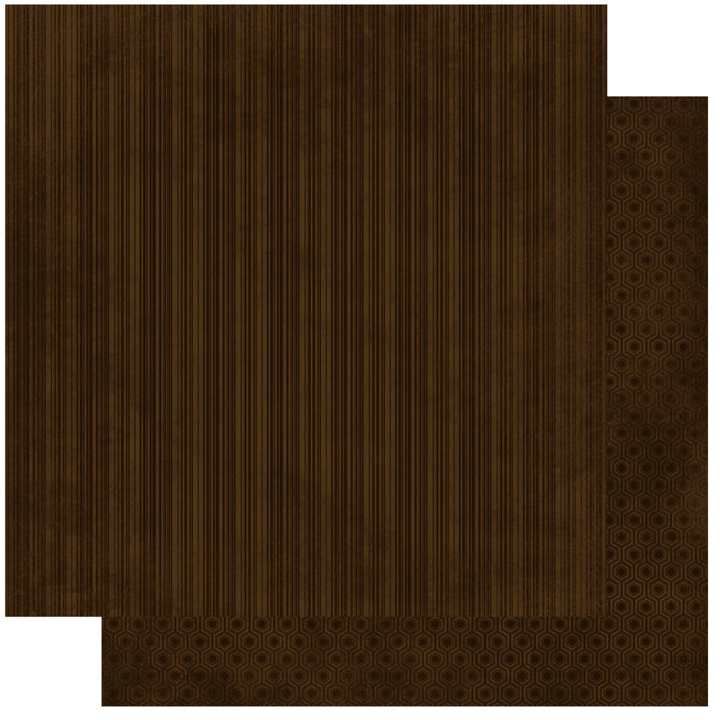 BoBunny Double Dot 12 x 12 Double Sided Paper Coffee Stripe