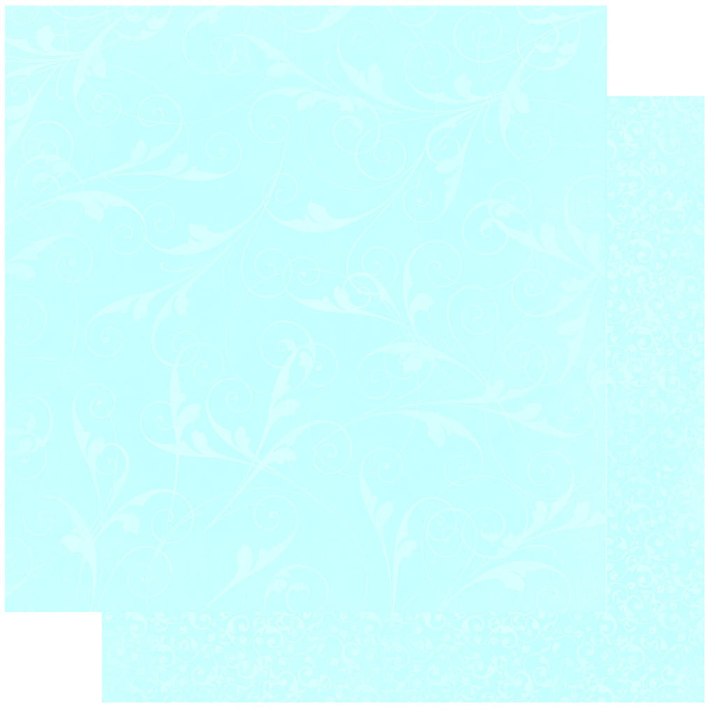 BoBunny Double Dot 12 x 12 Double Sided Paper Powder Blue Flourish