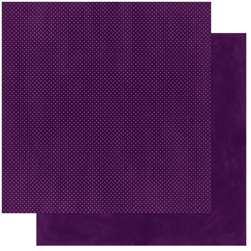 BoBunny Double Dot 12 x 12 Double Sided Paper Plum Dot