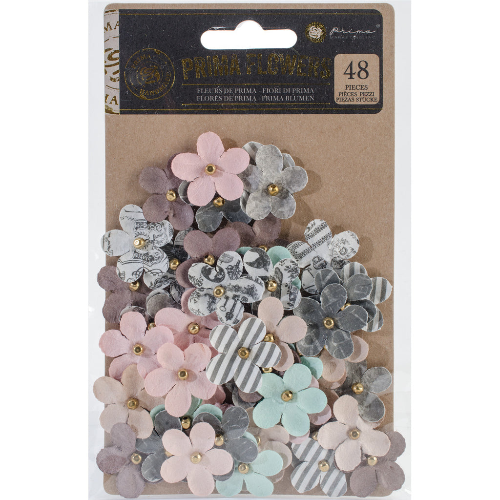 "Prima Marketing Salvage District Flowers 1"" 48/Pkg -Royal Court"