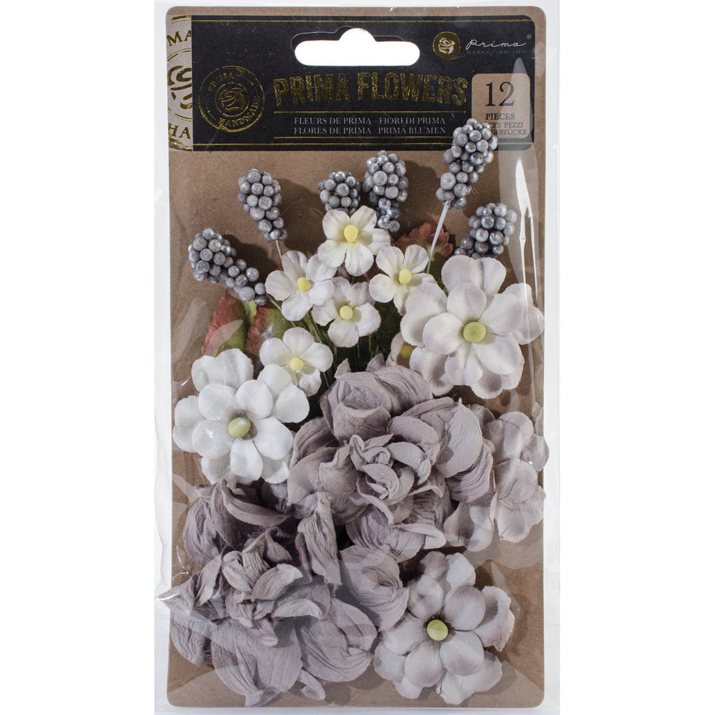 "Prima Marketing Salvage District Flowers 1.5"" - 4.75"" 12/Pkg-Marble Court"