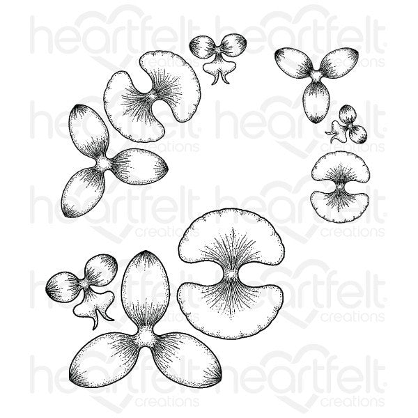 Heartfelt Creations Botanic Orchid Cling Stamp Set