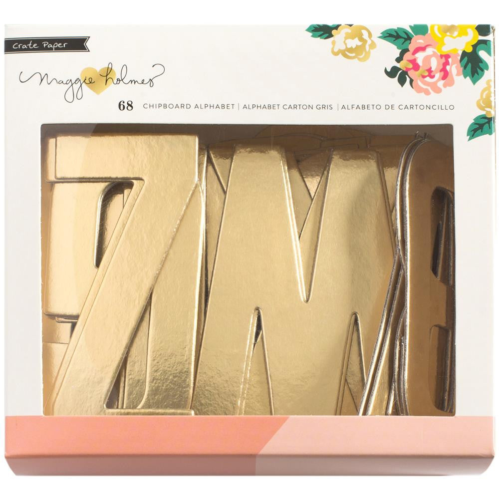 Crate Paper Maggie Holmes Shine Gold Foil Chipboard Alpha