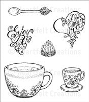 Heartfelt Creations Coffee Talk Cling Stamp Set