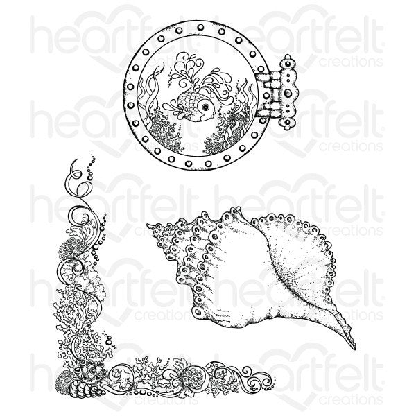 Heartfelt Creations Under the Sea Coral Reef Collage Cling Stamp Set