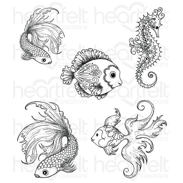 Heartfelt Creations Under the Sea Cling Stamp Set