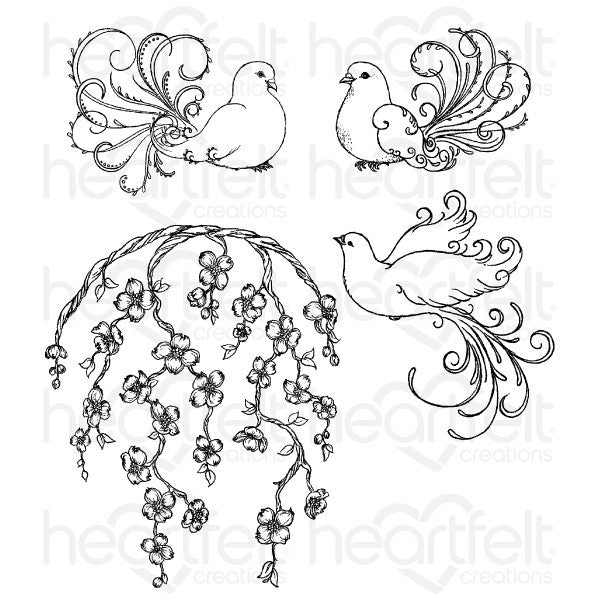Heartfelt Creations Flowering Dogwood and Doves Cling Stamp Set