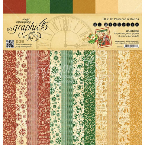 Graphic 45 St. Nicholas 12 x 12 Patterns and Solids Paper Pad