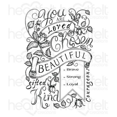 Heartfelt Creations Blushing Rose Background Cling Stamp Set