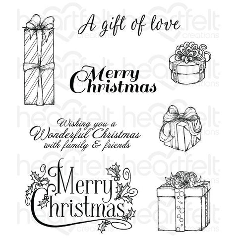 Heartfelt Creations Celebrate the Season Gift Wrapped Presents Cling Stamp Set