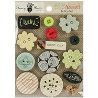 Fancy Pants Burlap & Bouquets Button Set 14/Pkg