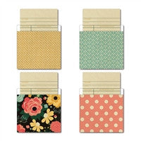 Fancy Pants Burlap & Bouquets Library Cards/Pockets 4/Pkg