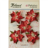 Petaloo Textured Elements Burlap Poinsettias Red