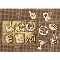 Prima Marketing Allstar Laser Cut Wood Icons In A Box 36 Pieces