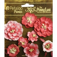 "Petaloo Penny Lane Mixed Blossoms 1"" To 1.75"" 8/Pkg Antique Red"