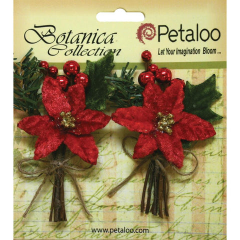 Petaloo Botanica Holiday Pine Picks Red