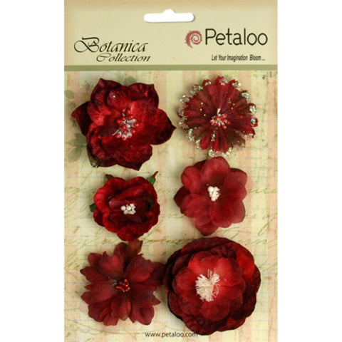 Petaloo Botanica Mixed Blooms Red & Burgundy