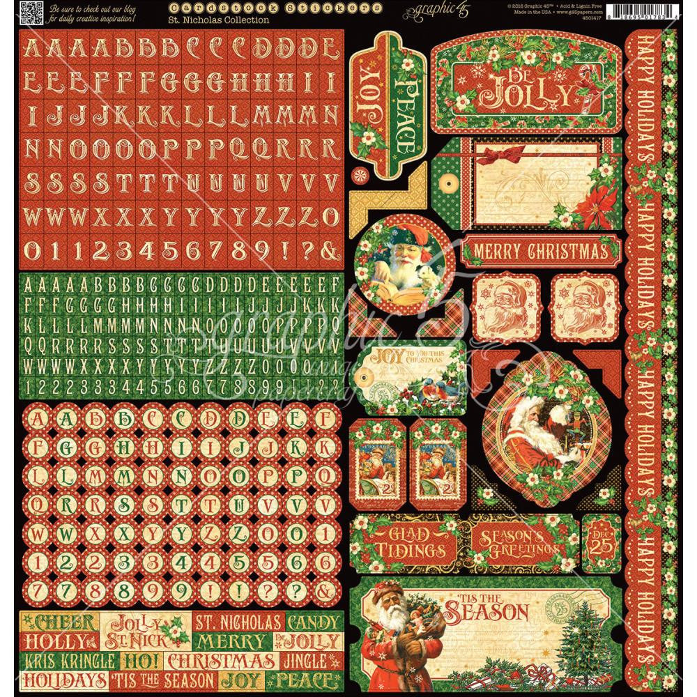 "Graphic 45 St Nicholas Cardstock Stickers 12""X12"""