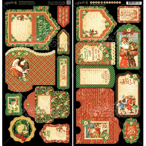 Graphic 45 St. Nicholas Cardstock Die Cuts - Tags and Pockets