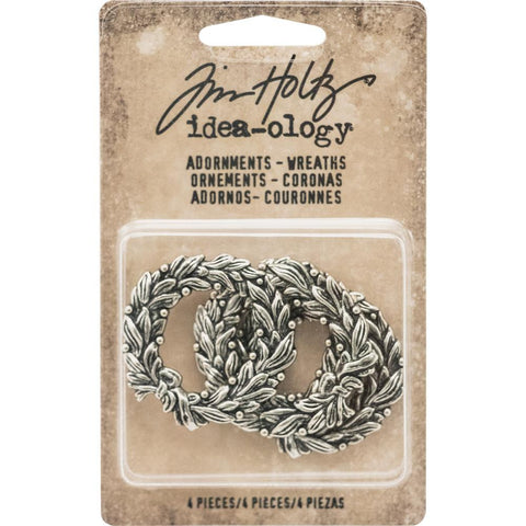 Tim Holtz Idea-Ology Metal Adornments Antique Nickel Wreaths