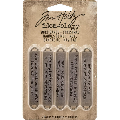 Tim Holtz Idea-Ology Metal Word Bands Antique Nickel Christmas Quotes
