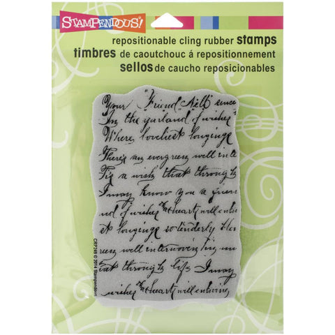 "Stampendous Cling Stamp Vintage Note 4.75""X4.5"""