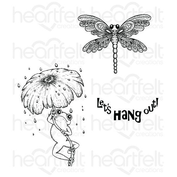 Heartfelt Creations Winking Frog Froggy Hangout Cling Stamp Set