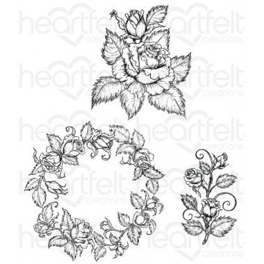 Heartfelt Creations Classic Rose Bouquet Cling Stamp Set