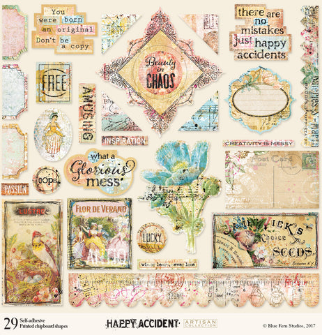 Blue Fern Studios Happy Accident Printed Chipboard