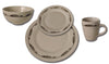 16 Piece Stoneware Table Dinnerware, 4 Place Settings - 3 Designs Available