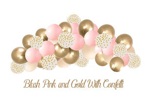 Pink and gold balloon garland with gold confetti balloon