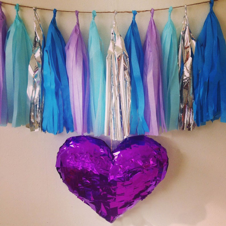 Silver, Lavender, Blue, and Light Blue tassel garland, Silver, Lavender, Blue, and Light Bluetissue tassels for weddings, birthdays, and bachelorette party decor
