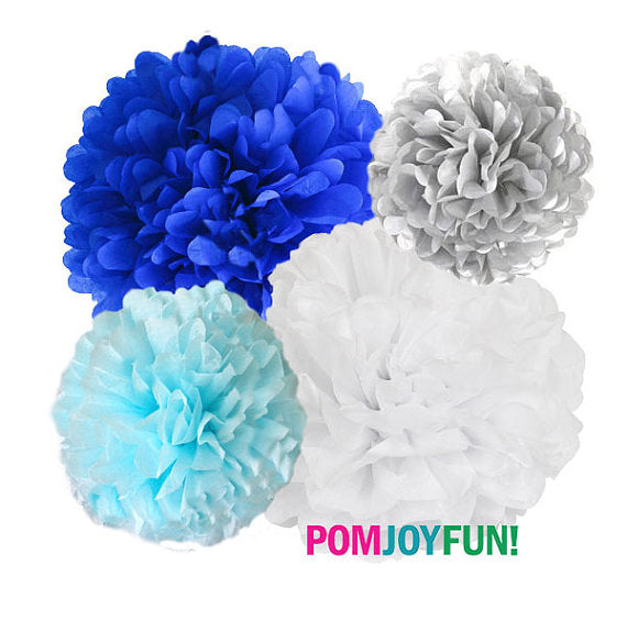 Blue, grey, light blue and white tissue paper pom  set of 4