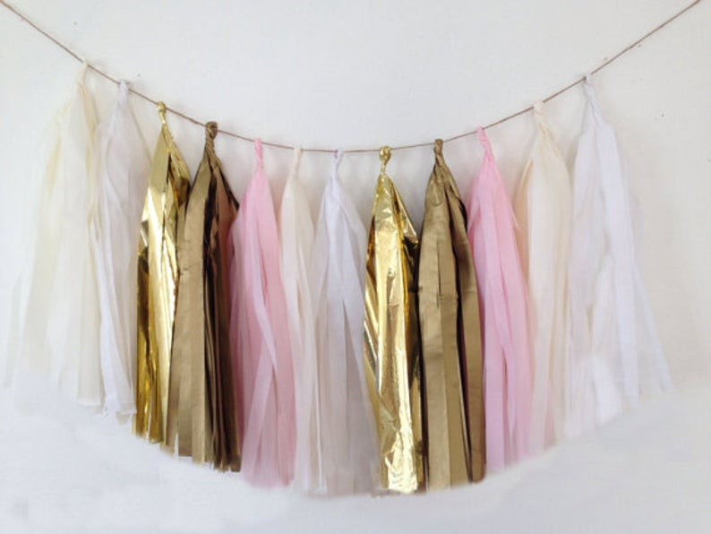 Pink, gold and cream tassel garland, Pink, gold and cream tissue tassels for weddings, birthdays, and bachelorette party decor