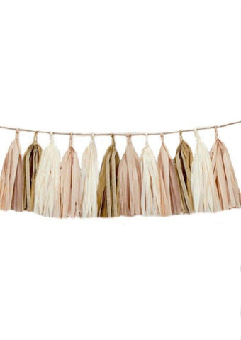 Blush Ivory and Gold tassel garland, Blush Ivory and Gold tissue tassels for weddings, birthdays, and bachelorette party decor
