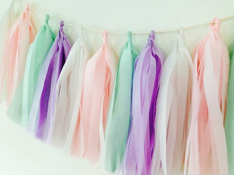 Light Pink, Mint, Lavender and White tassel garland, Light Pink, Mint, Lavender and White tissue tassels for weddings, birthdays, and bachelorette party decor