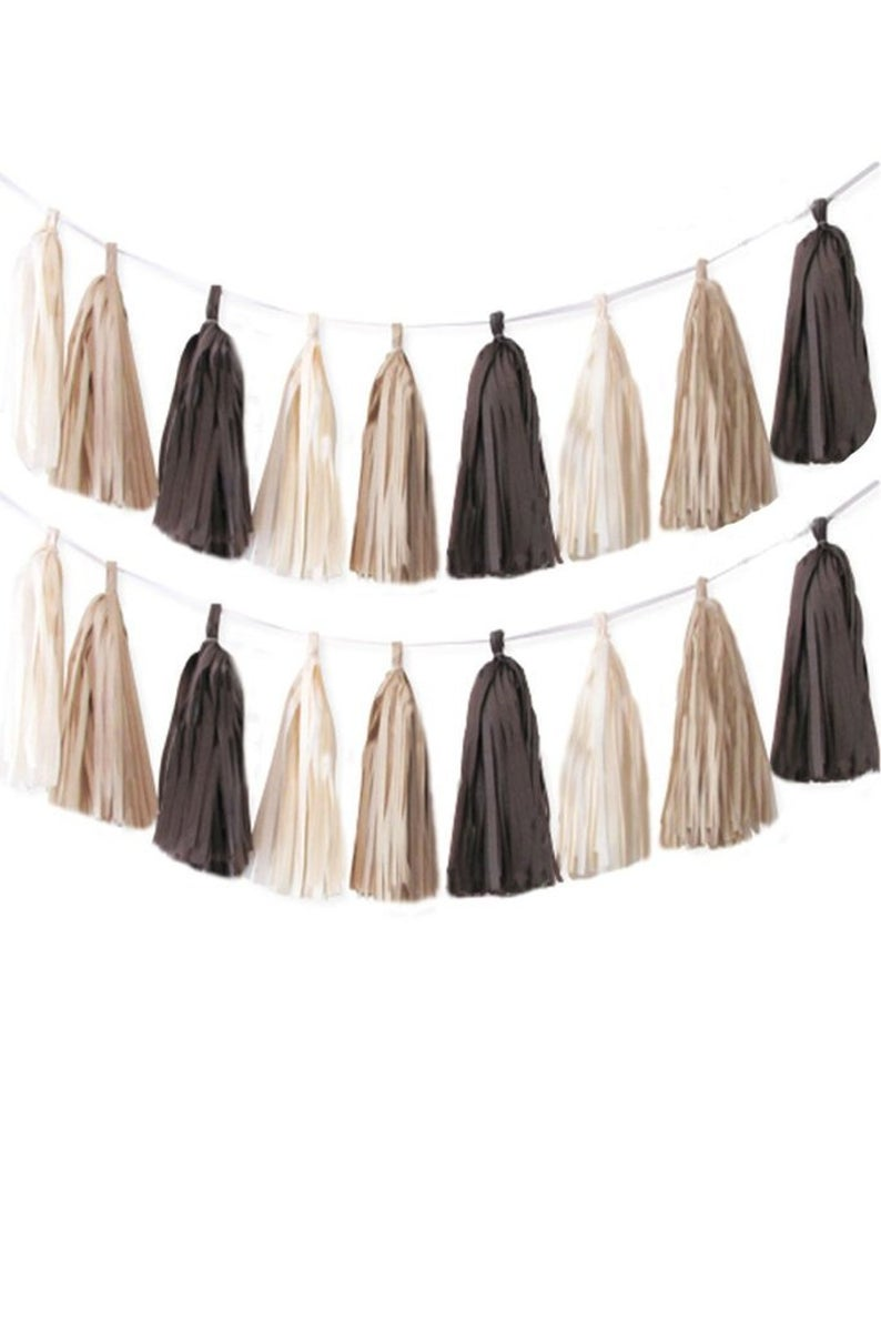 Natural Cream and Brown tassel garland, Natural Cream and Brown tissue tassels for weddings, birthdays, and bachelorette party decor