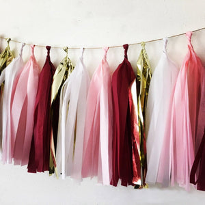 Burgundy, Gold, White, and Pink tassel garland, Burgundy, Gold, White, and Pink  tissue tassels for weddings, birthdays, and bachelorette party decor