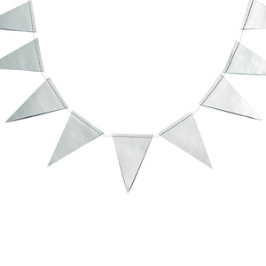Silver Foil Pennant Banner, Pennant Banner Garland for Birthdays, Weddings, Baby Showers, and Anniversaries